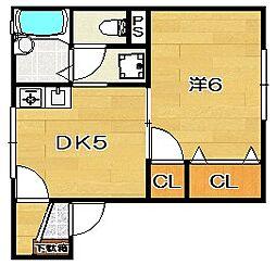 大阪府茨木市末広町の賃貸アパートの間取り