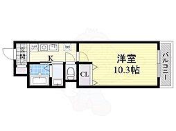 阪急千里線 下新庄駅 徒歩6分の賃貸マンション 4階1Kの間取り