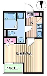 東京メトロ千代田線 綾瀬駅 徒歩8分の賃貸アパート 1階1Kの間取り