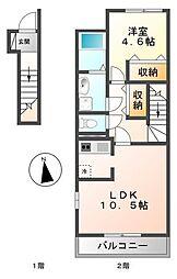 アンソレイユ 2階1LDKの間取り