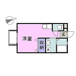 YUアパート 1階ワンルームの間取り
