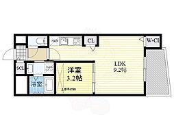 SERENiTE福島scelto 9階1Kの間取り