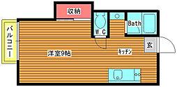 ホワイトハウス沼目C[2号室]の間取り