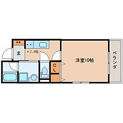 JR東海道本線 静岡駅 徒歩21分の賃貸マンション 2階1Kの間取り