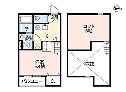 JR仙山線 東照宮駅 徒歩5分の賃貸アパート 1階1Kの間取り