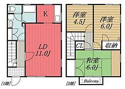 [テラスハウス] 千葉県千葉市花見川区花園4丁目 の賃貸【/】の間取り