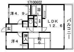 セスタ北田辺[4階]の間取り