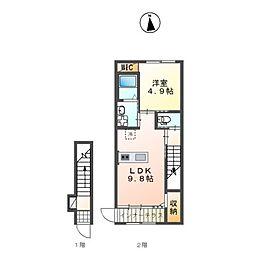 JR赤穂線 西大寺駅 徒歩22分の賃貸アパート 2階1LDKの間取り