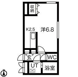 JR学園都市線 桑園駅 徒歩6分の賃貸マンション 4階1Kの間取り