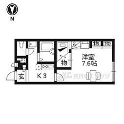 JR東海道・山陽本線 瀬田駅 徒歩27分の賃貸アパート 2階1Kの間取り