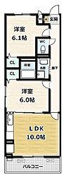 ソレイユ 1階2LDKの間取り