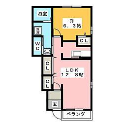 静岡県焼津市三ケ名の賃貸アパートの間取り