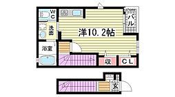 兵庫県神戸市灘区城の下通1丁目の賃貸アパートの間取り