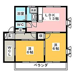 ラ・フェーリアII[2階]の間取り