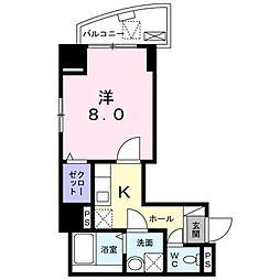都営新宿線 船堀駅 徒歩17分の賃貸マンション 2階1Kの間取り