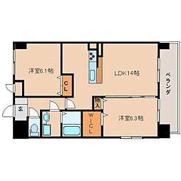 奈良県奈良市四条大路2丁目の賃貸マンションの間取り
