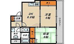 South River Ogura 4階2DKの間取り