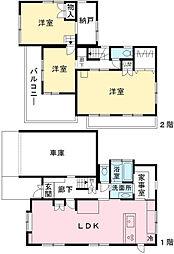 [一戸建] 東京都日野市平山2丁目 の賃貸【/】の間取り
