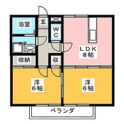 リバークルーズA棟[2階]の間取り