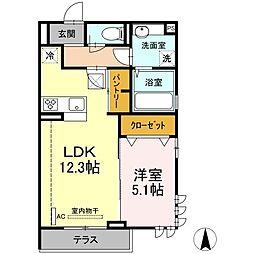 JR横須賀線 新川崎駅 徒歩12分の賃貸アパート 1階1LDKの間取り