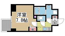 ファステート神戸ティアモ 11階1Kの間取り
