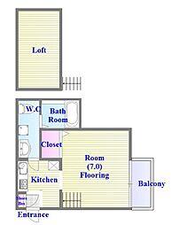 山陽電鉄本線 板宿駅 徒歩13分の賃貸アパート 2階1Kの間取り