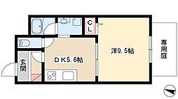 セジュール枇杷島 1階1DKの間取り