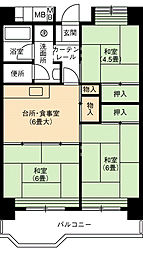 UR大幸東団地102号棟[6階]の間取り