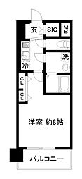 JR東海道・山陽本線 西大路駅 徒歩14分の賃貸マンション 3階1Kの間取り