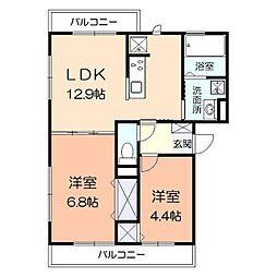 横浜市営地下鉄ブルーライン 上永谷駅 徒歩21分の賃貸アパート 3階2LDKの間取り
