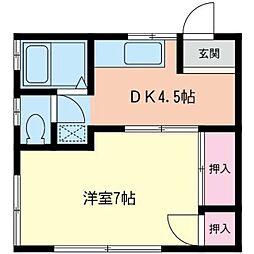 神奈川県相模原市中央区並木4丁目の賃貸アパートの間取り