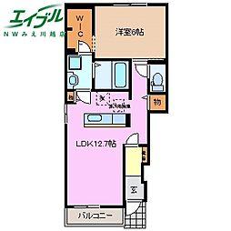 近鉄名古屋線 川越富洲原駅 徒歩25分の賃貸アパート 1階1LDKの間取り