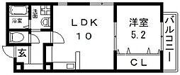 エスポワール瓢箪山 3階1LDKの間取り