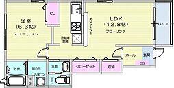 JR東北本線 南仙台駅 徒歩36分の賃貸アパート 1階1LDKの間取り