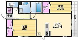 Kステイブル 3階2LDKの間取り