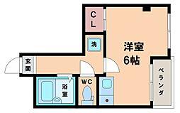ナニワIII番館 6階ワンルームの間取り