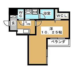 レオ伍拾八番館 1階ワンルームの間取り
