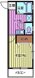 埼玉県川越市上野田町の賃貸アパートの間取り