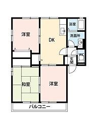 レトア宇多津B棟(アパート) 2階3DKの間取り
