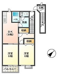 愛知県名古屋市天白区土原3丁目の賃貸アパートの間取り