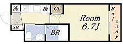 エグゼ大阪ドーム 8階1Kの間取り