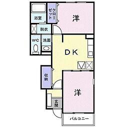 プロムナード2 1階2DKの間取り