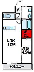 JR鹿児島本線 福間駅 徒歩19分の賃貸マンション 1階1LDKの間取り