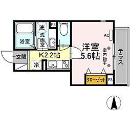 京王線 府中駅 徒歩4分の賃貸アパート 1階1Kの間取り