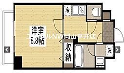 岡山電気軌道東山本線 西大寺町駅 徒歩2分の賃貸マンション 2階1Kの間取り