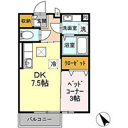 広島高速交通アストラムライン 伴駅 徒歩7分の賃貸アパート 1階1DKの間取り