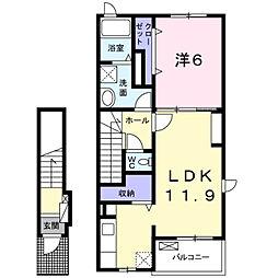 大学町1丁目アパート[2階]の間取り