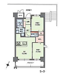 福岡市地下鉄七隈線 桜坂駅 徒歩14分の賃貸マンション 3階2DKの間取り