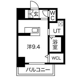 PLATZ TACHIBANA(プラッツタチバナ) 7階ワンルームの間取り