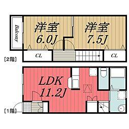[タウンハウス] 千葉県千葉市若葉区下田町 の賃貸【/】の間取り